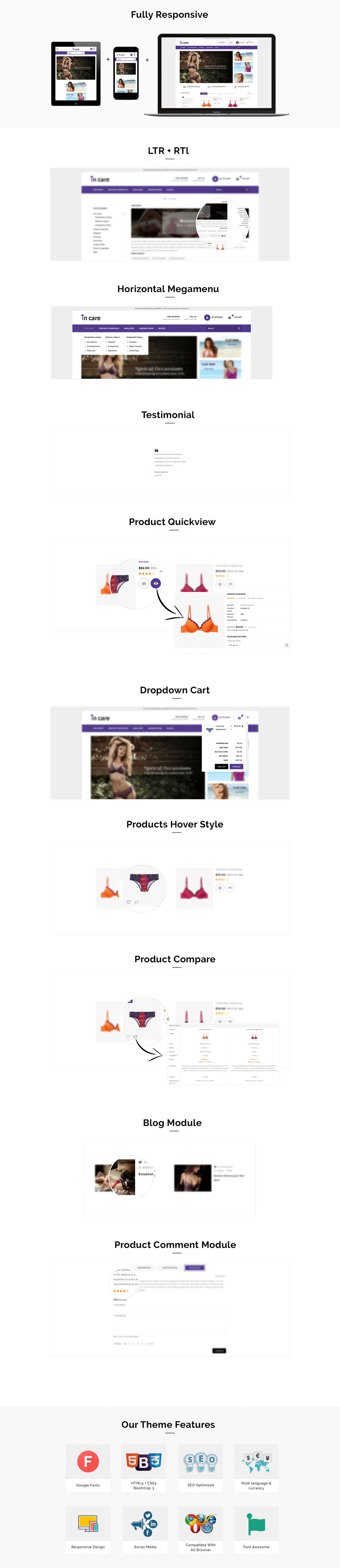 Incare Lingerie Store - Responsive OpenCart Template - Features Image 1