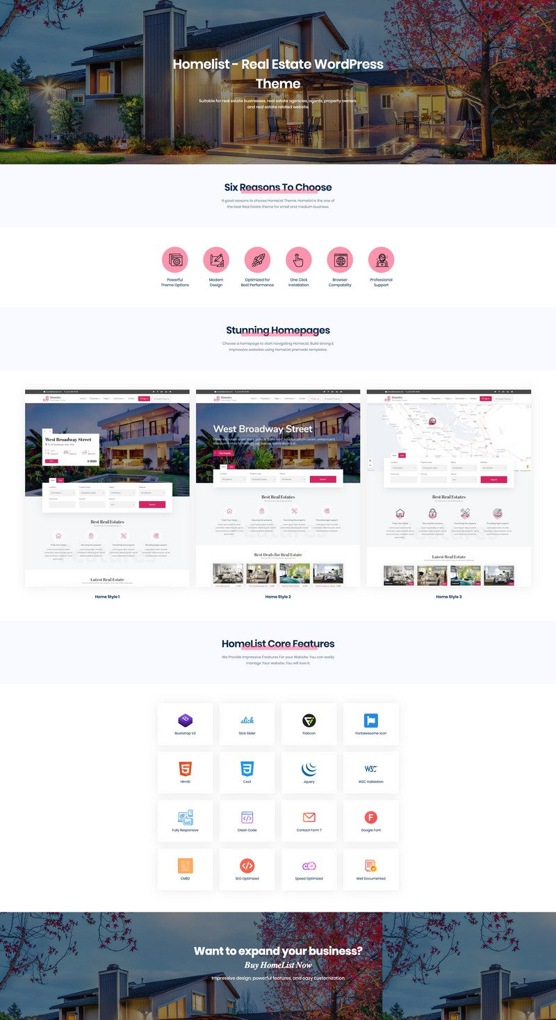 Homelist - Real Estate WordPress Theme - Features Image 1