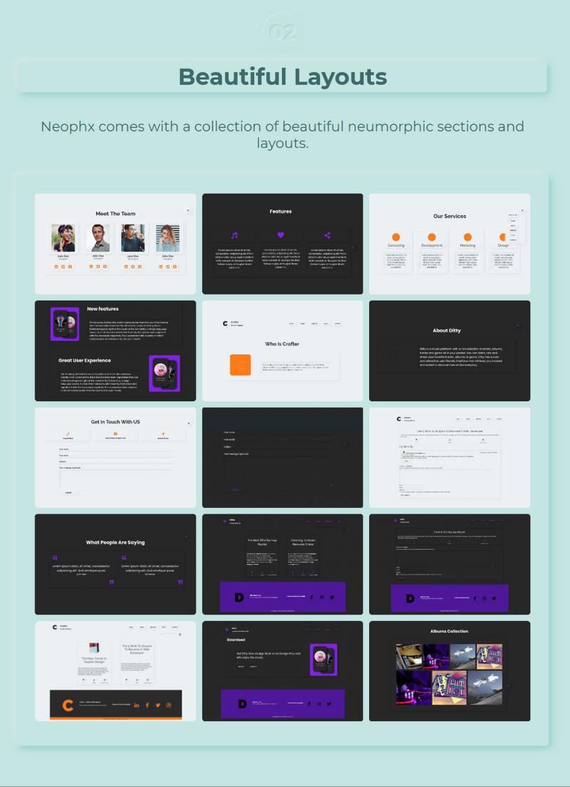 Neophx – Neumorphic Minimalist Responsive WordPress Theme - Features Image 2