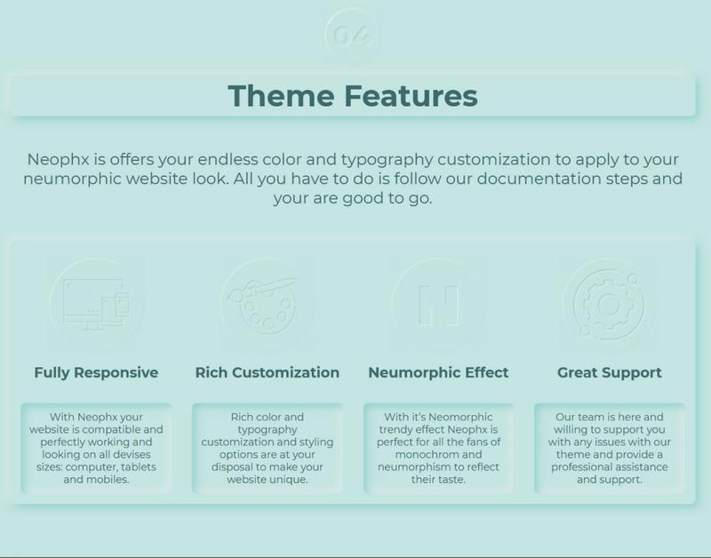 Neophx – Neumorphic Minimalist Responsive WordPress Theme - Features Image 4