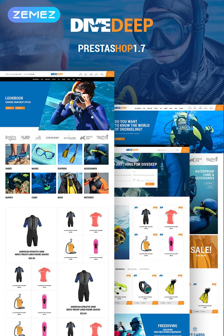 DiveDeep - Snorkeling Equipment PrestaShop Theme