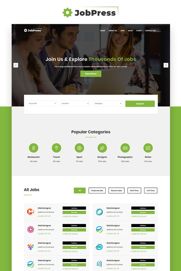 jobpress jobs directory listing website template 69997