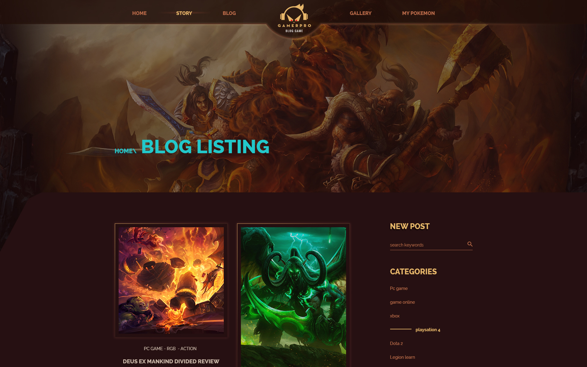 Gamepro - Fantastic Blog PSD Template for GAME SITES PSD Template #64985