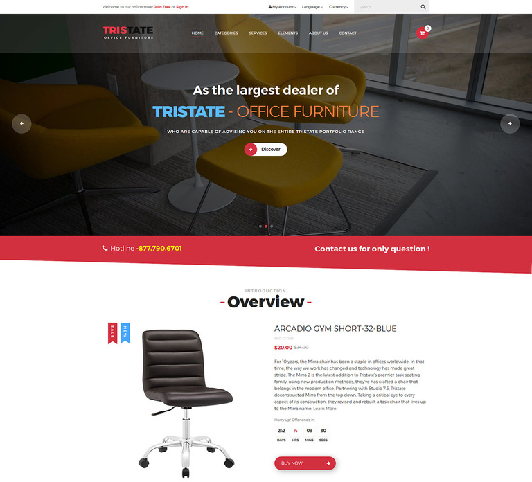 tristate - office furniture responsive magento 2 theme magento