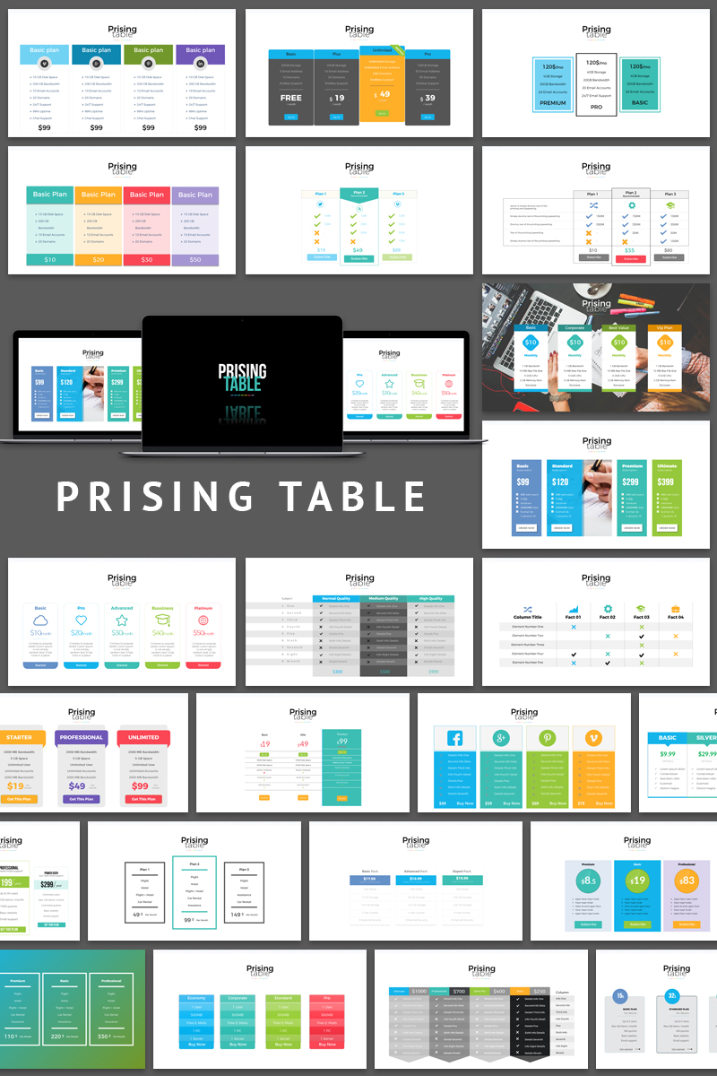 Pricing Table Presentation Powerpoint Template 65109