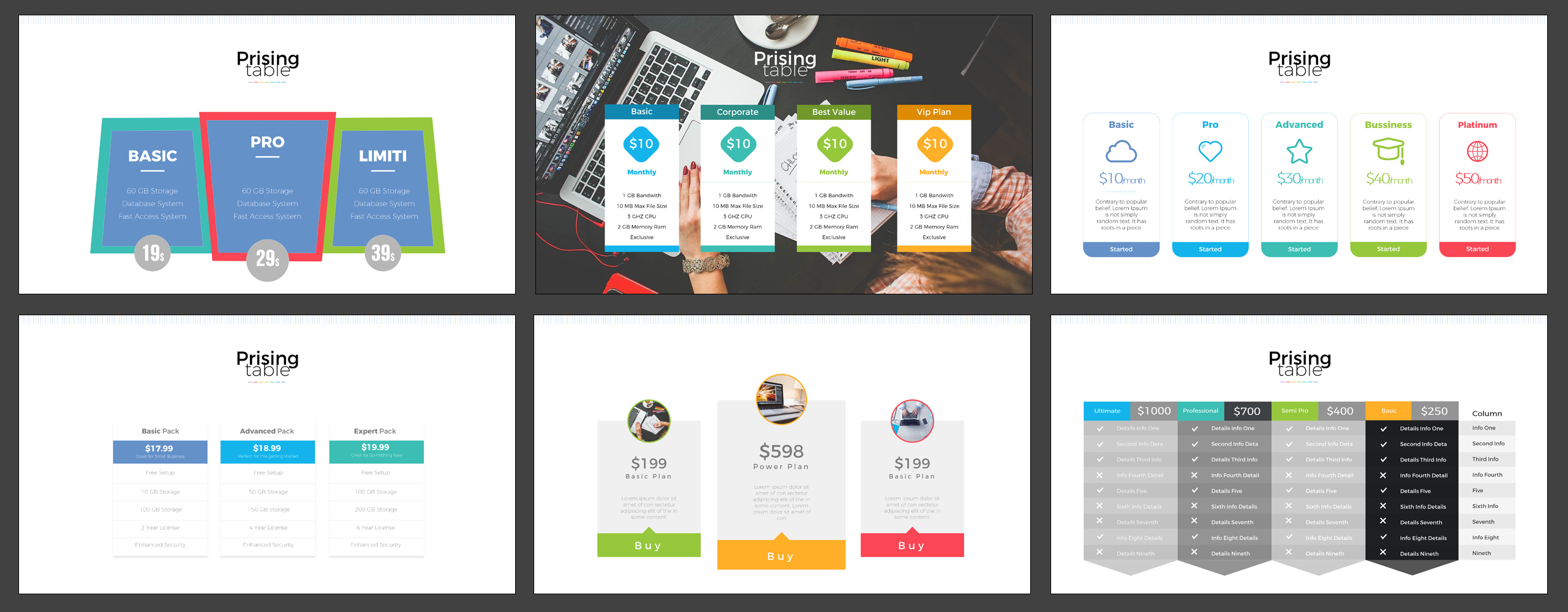 Pricing table presentation powerpoint template 65109 for Table design powerpoint