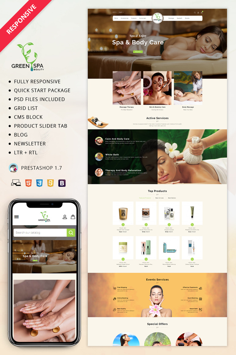 Green Spa - 1.7 PrestaShop Theme