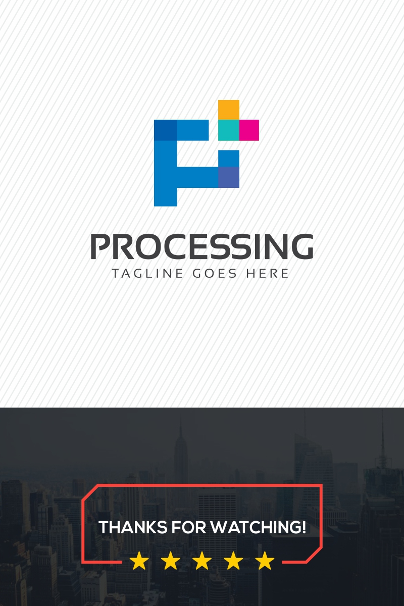 processing p letter logo template 70568