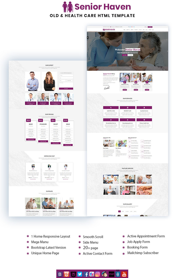 Senior Haven Old & Health Care HTML Landing Page Template #70754