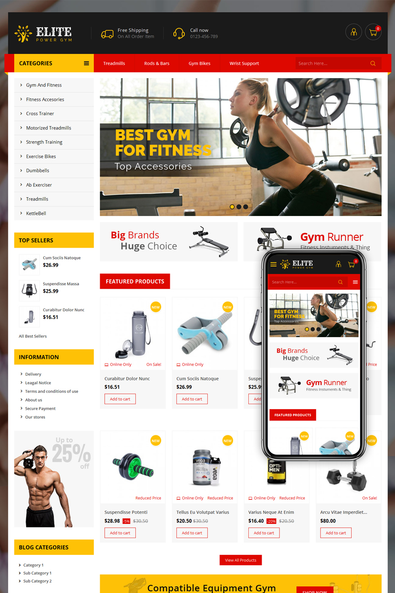Elite Power Gym Store PrestaShop Theme