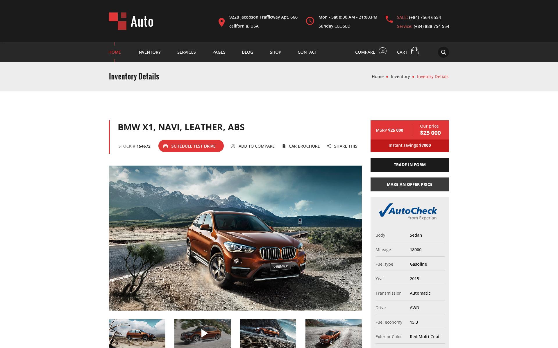 Plantilla PSD #65005 para Sitio de Concesionarios de coches