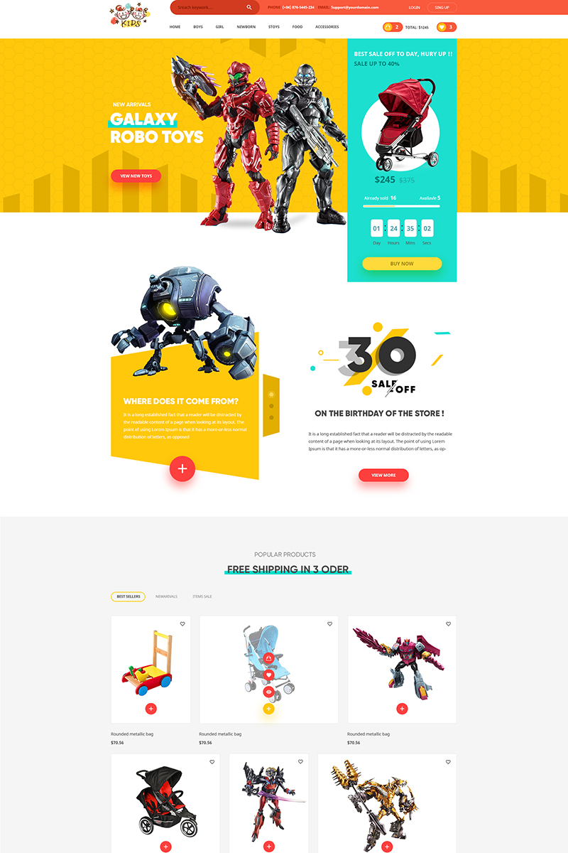 Kids Lovely Design For Baby Fashion And Stores Psd Template 65006