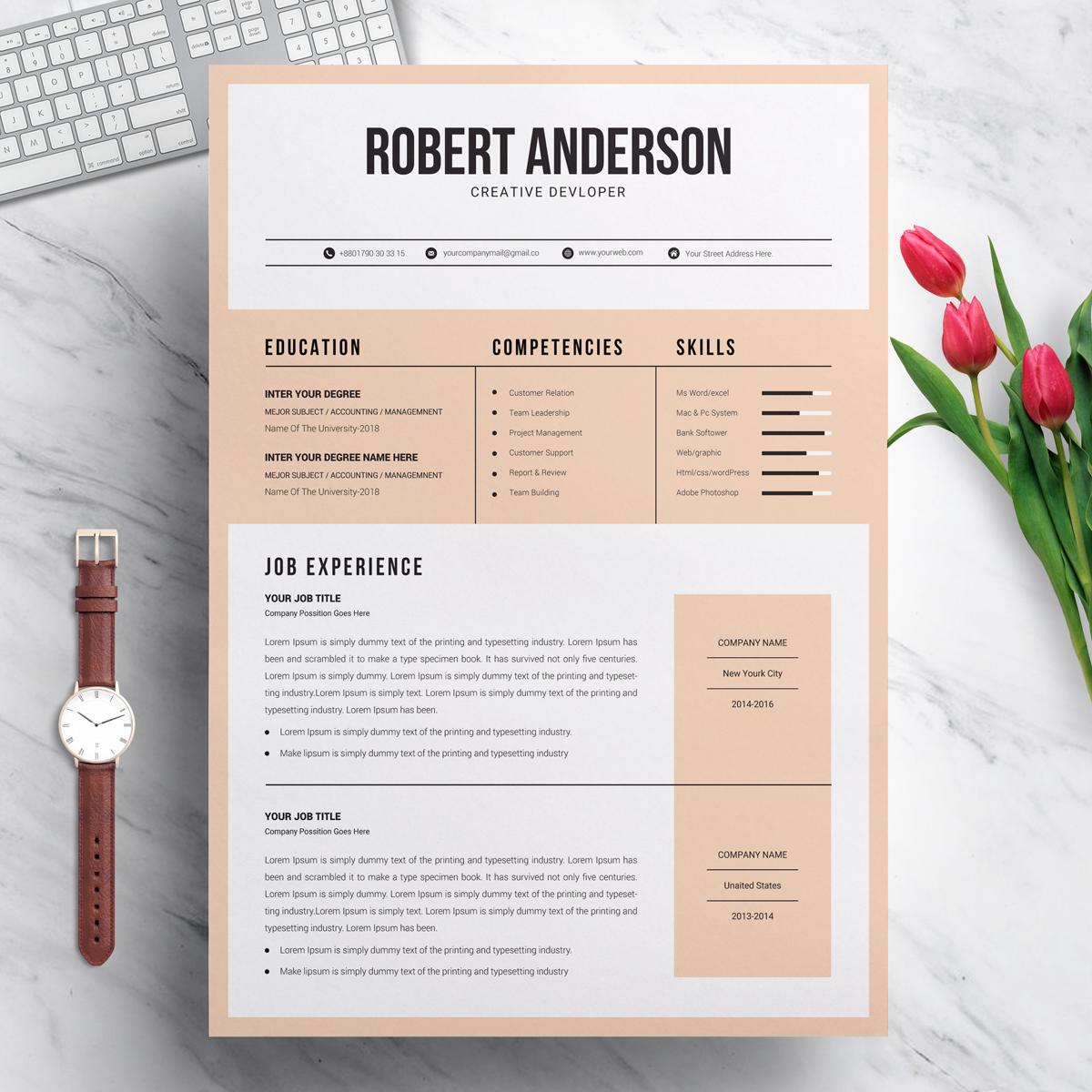 Designer & Developer Modern Resume Template #70716