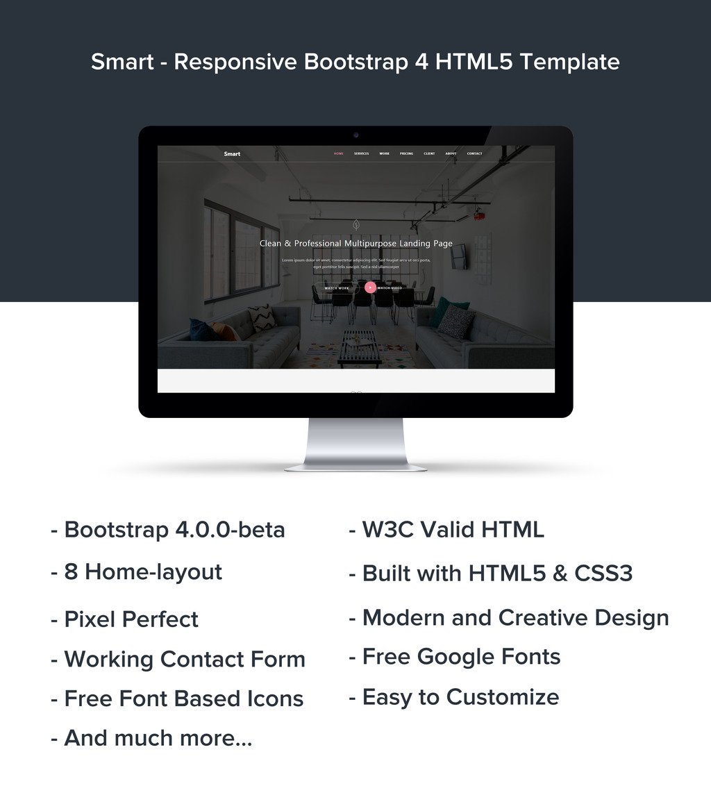 Smart - Responsive Bootstrap 4 HTML5 Website Template #65322