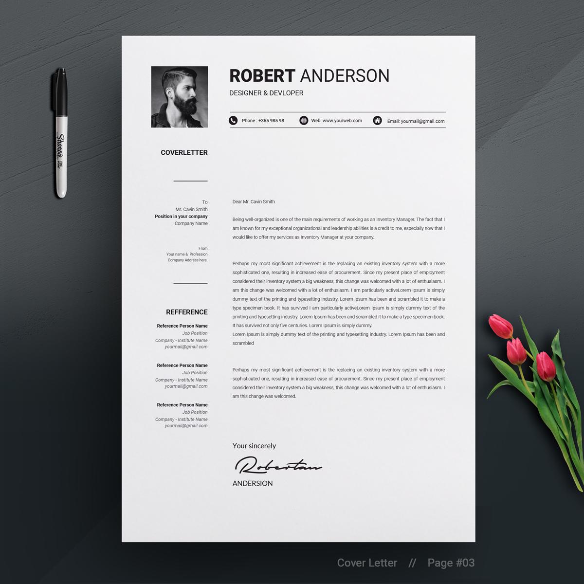 robert anderson clean resume template 70894