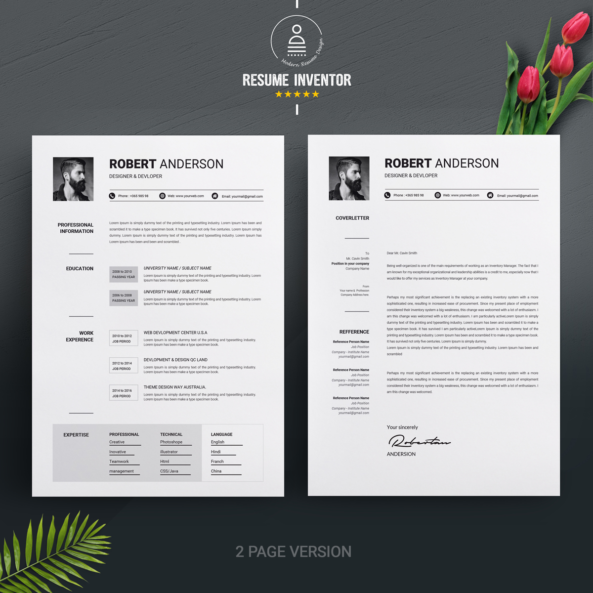 Robert Anderson Clean Resume Template