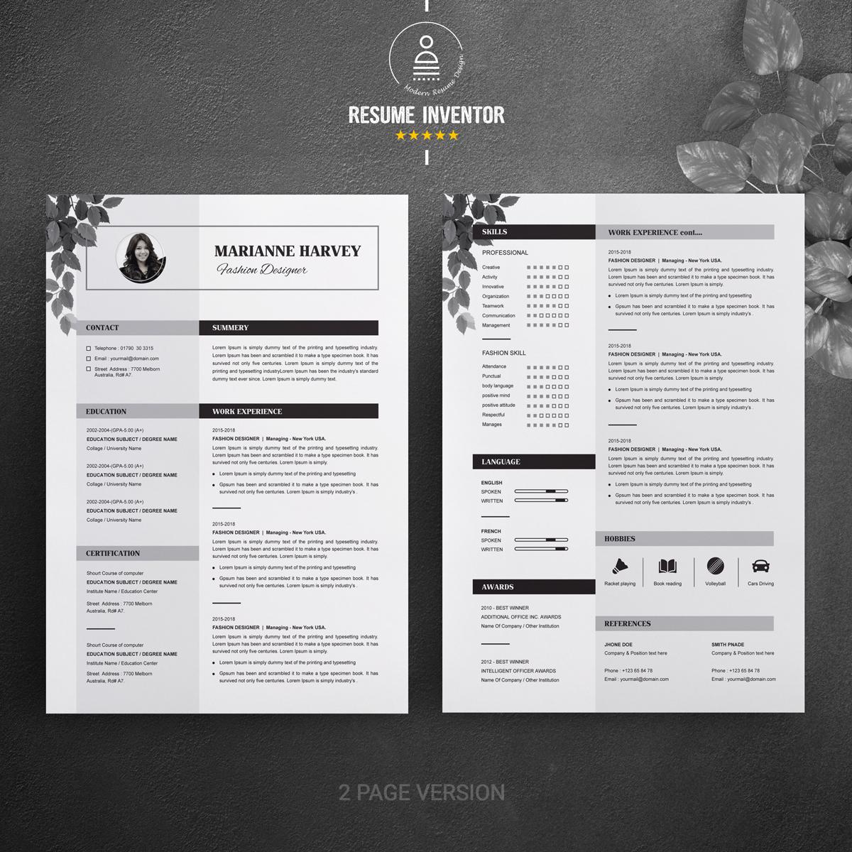 Floral CV / Resume Template #70971
