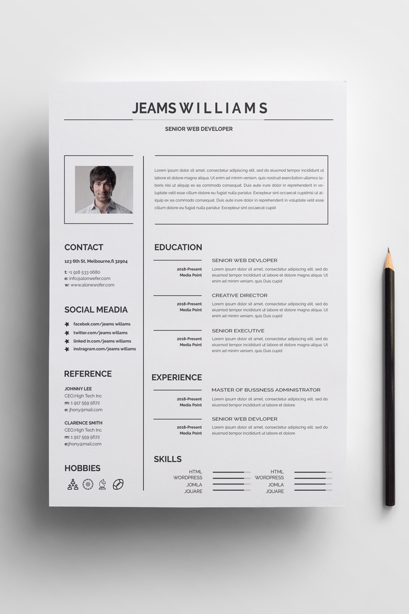 Jeams Creative And Clean Resume Template