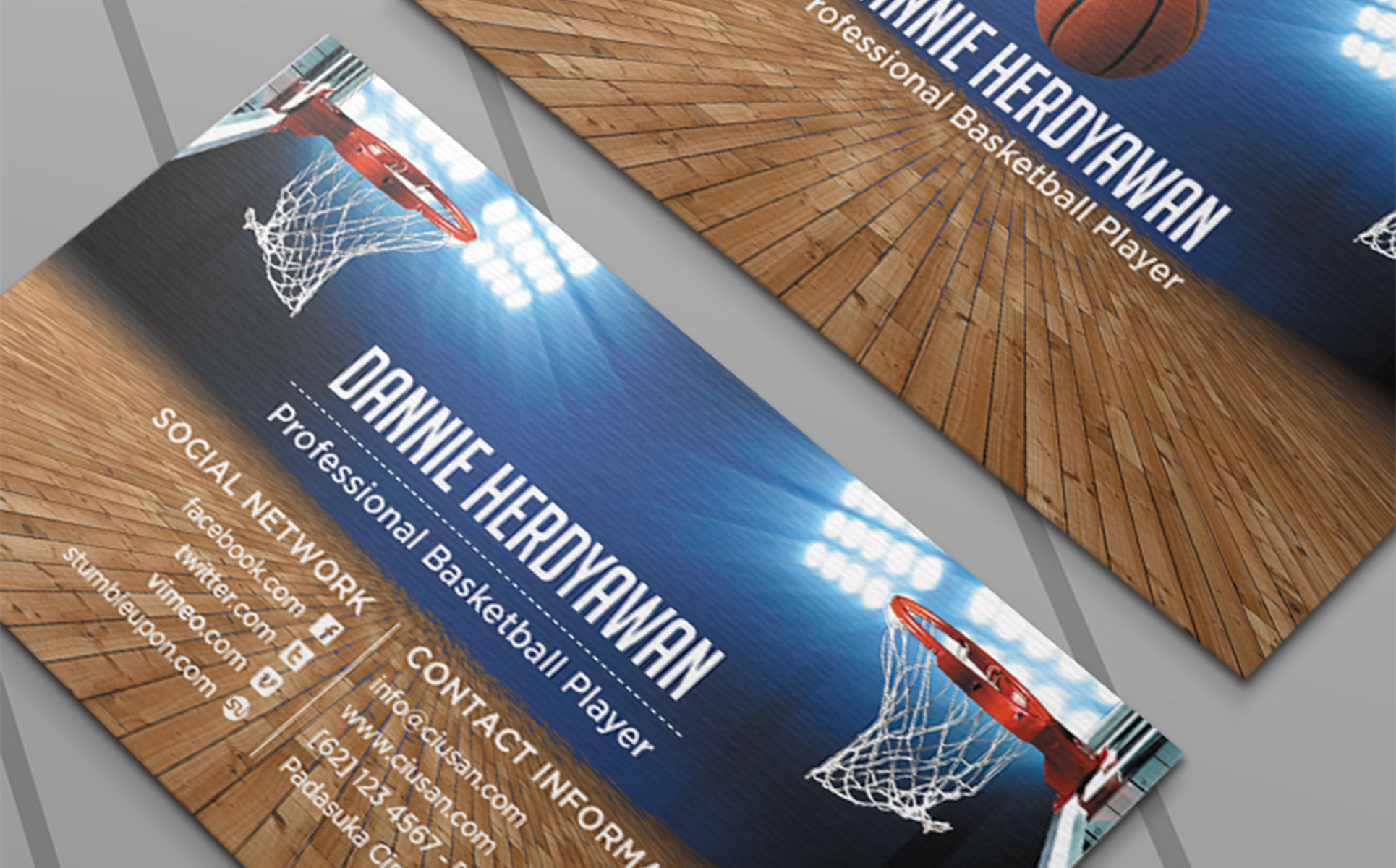 basketball business card psd template