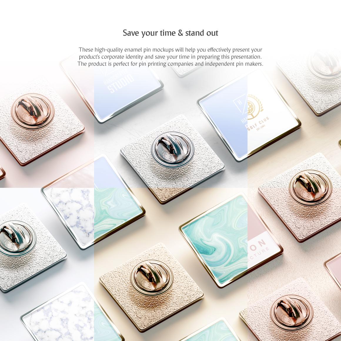Square Enamel Pin Set Product Mockup #71200