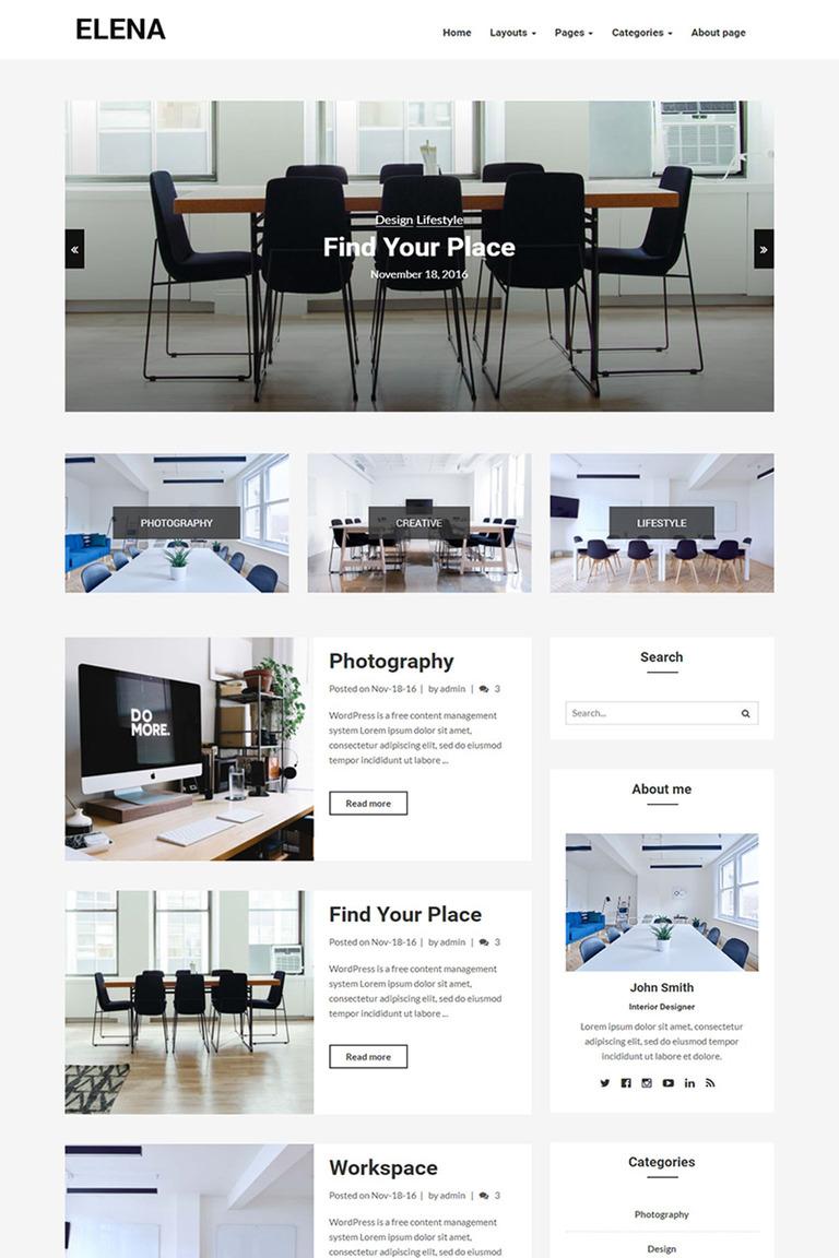 Elena - Responsive Blog WordPress Theme #65421