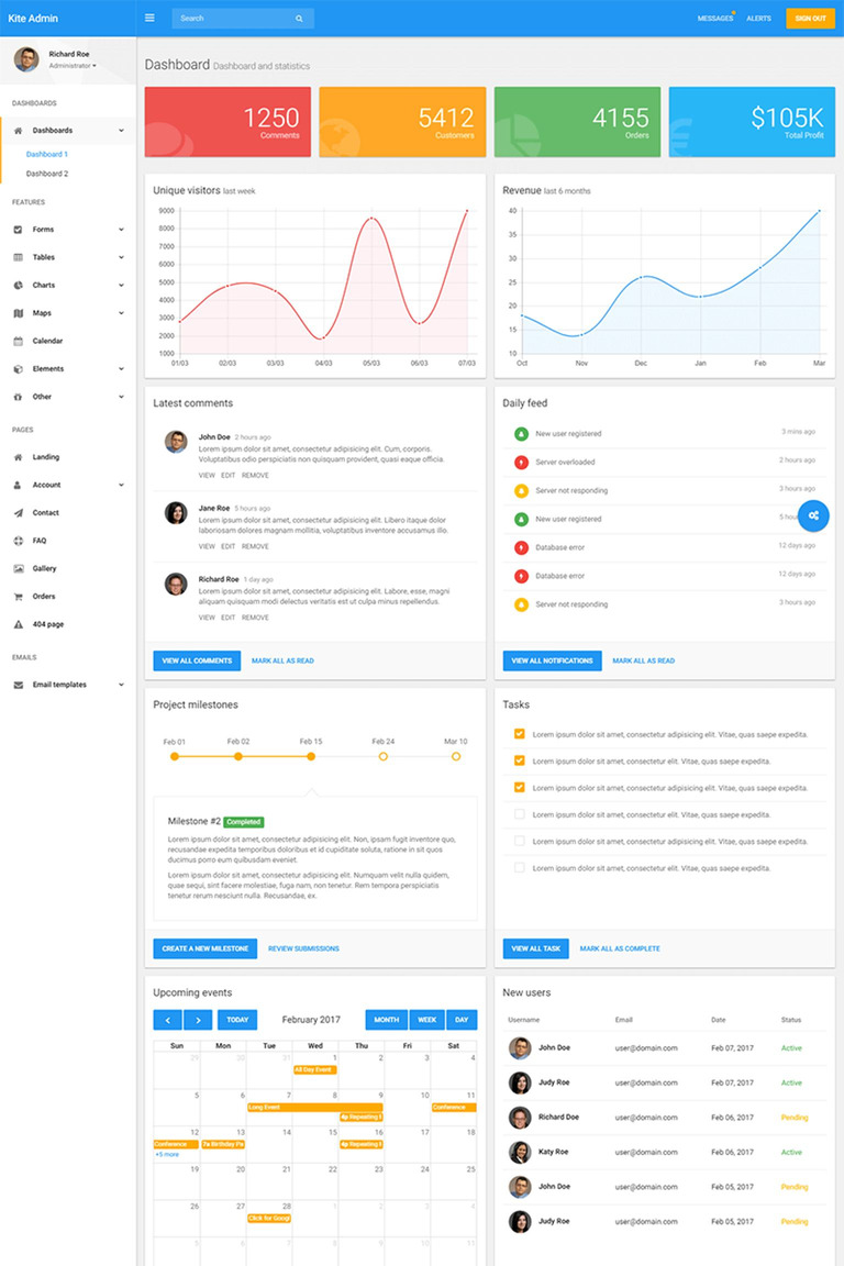 Business admin template 65130 kite material admin dashboard template bonus big screenshot accmission