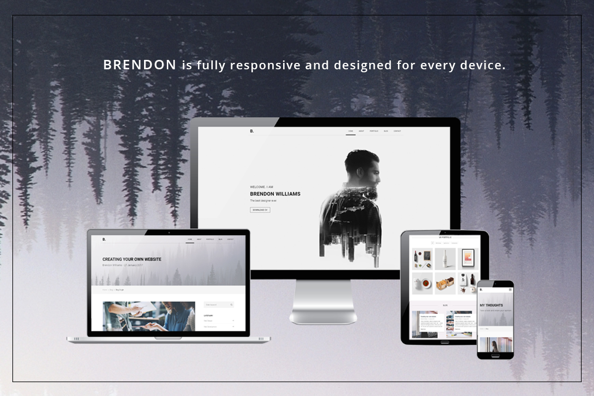 Brendon Minimal Personal Portfolio Website Template - Design your own website template
