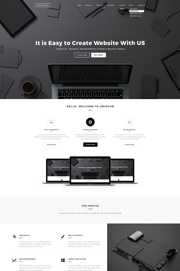 black white labels website template 65334