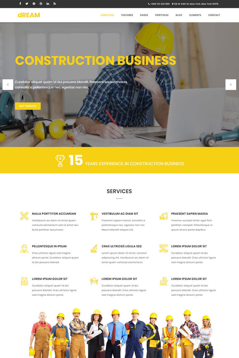 Dream - Construction & Business Bootstrap Website Template #65329