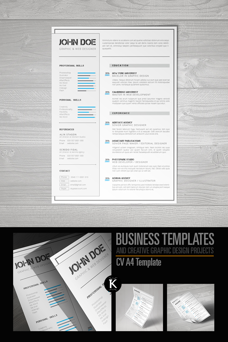 cv a4 format indesign resume template  65326