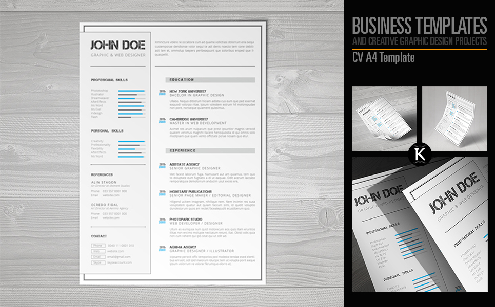 CV A4 Format InDesign Resume Template  Resume Templates Indesign