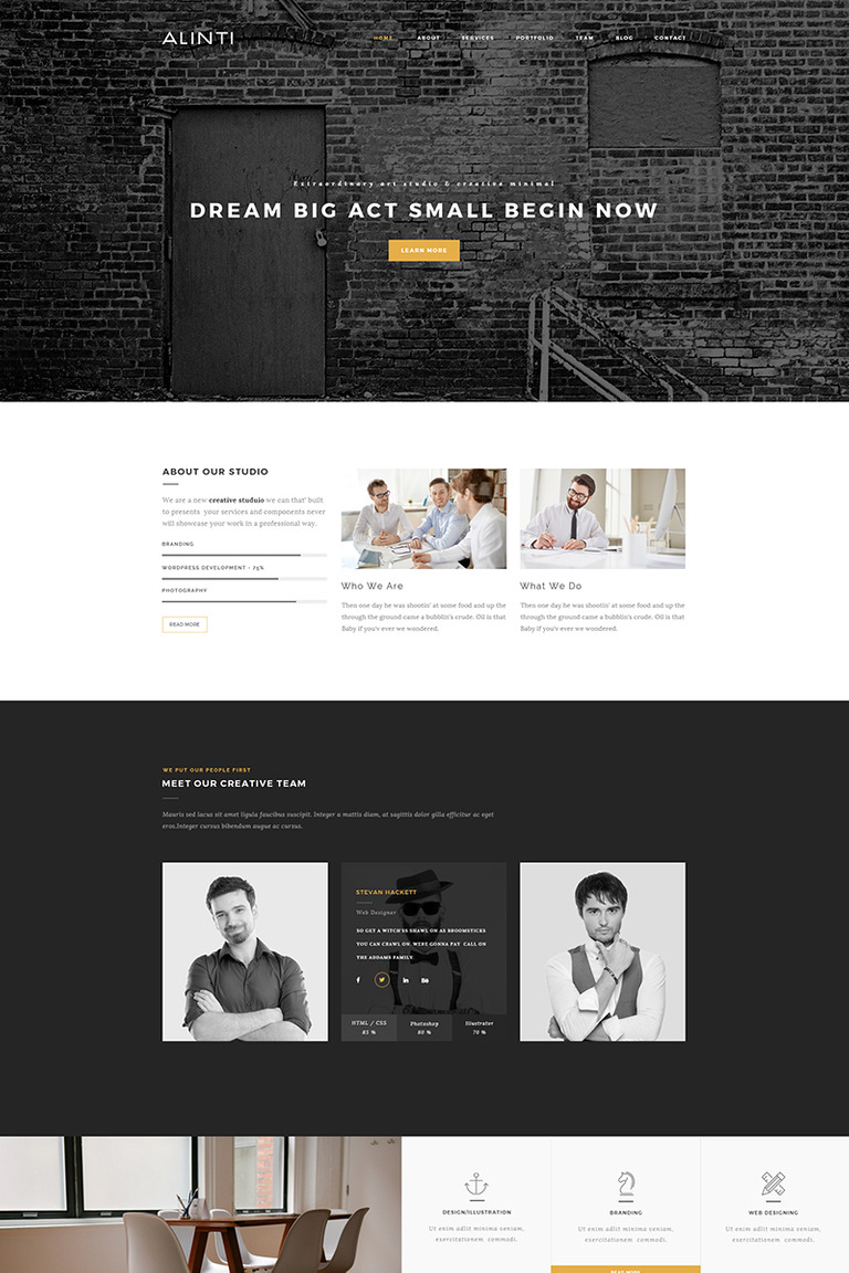 Alinti - Minimal Creative Portfolio WordPress Theme Big Screenshot