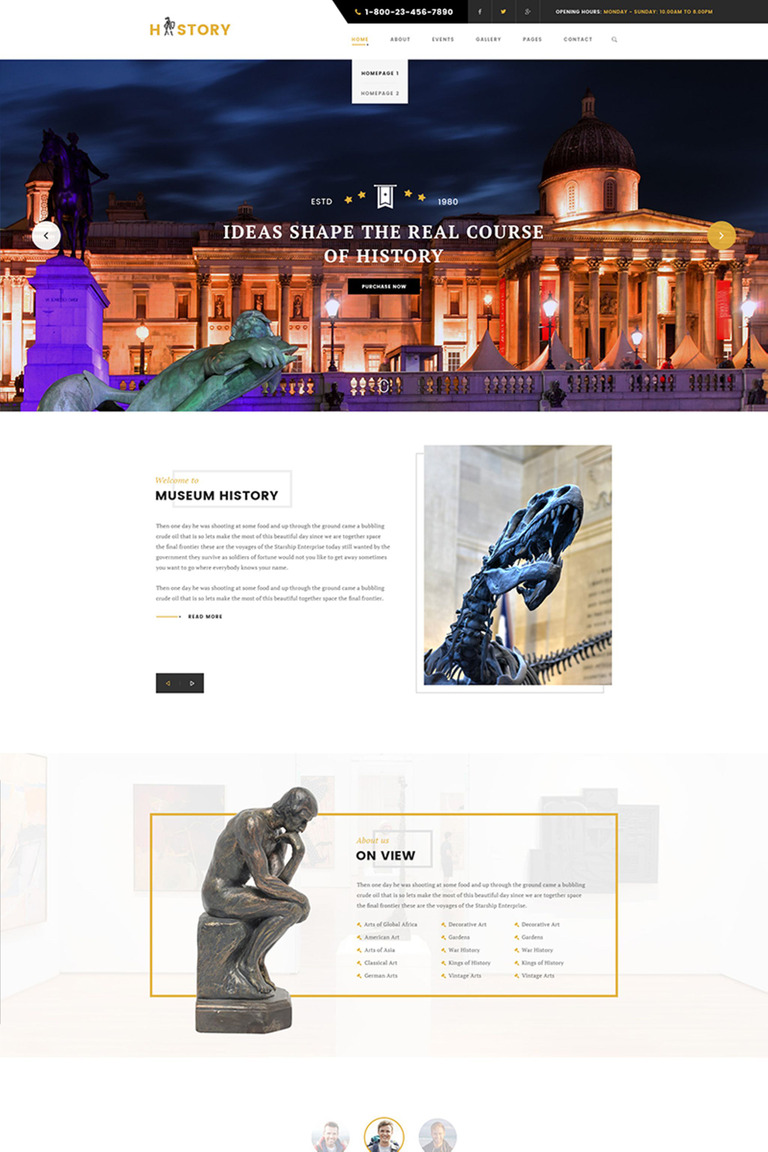 History - Museum & Archeology WordPress Theme Big Screenshot