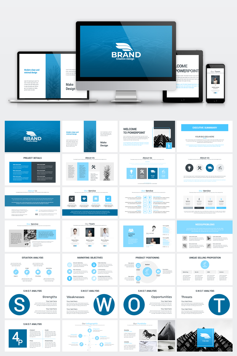 minimal presentation powerpoint template 74173