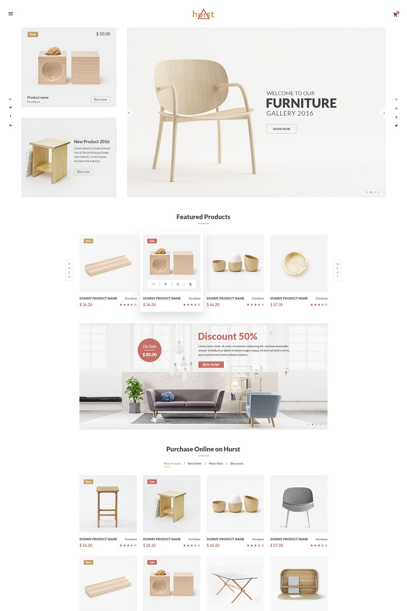 Attractive Hurst   Furniture ECommerce Website Template