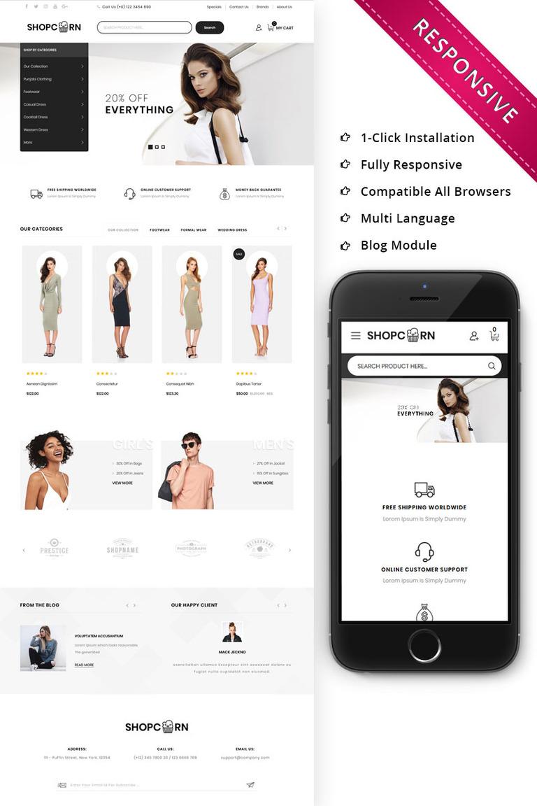Shopcorn Fashion Opencart Template 74150