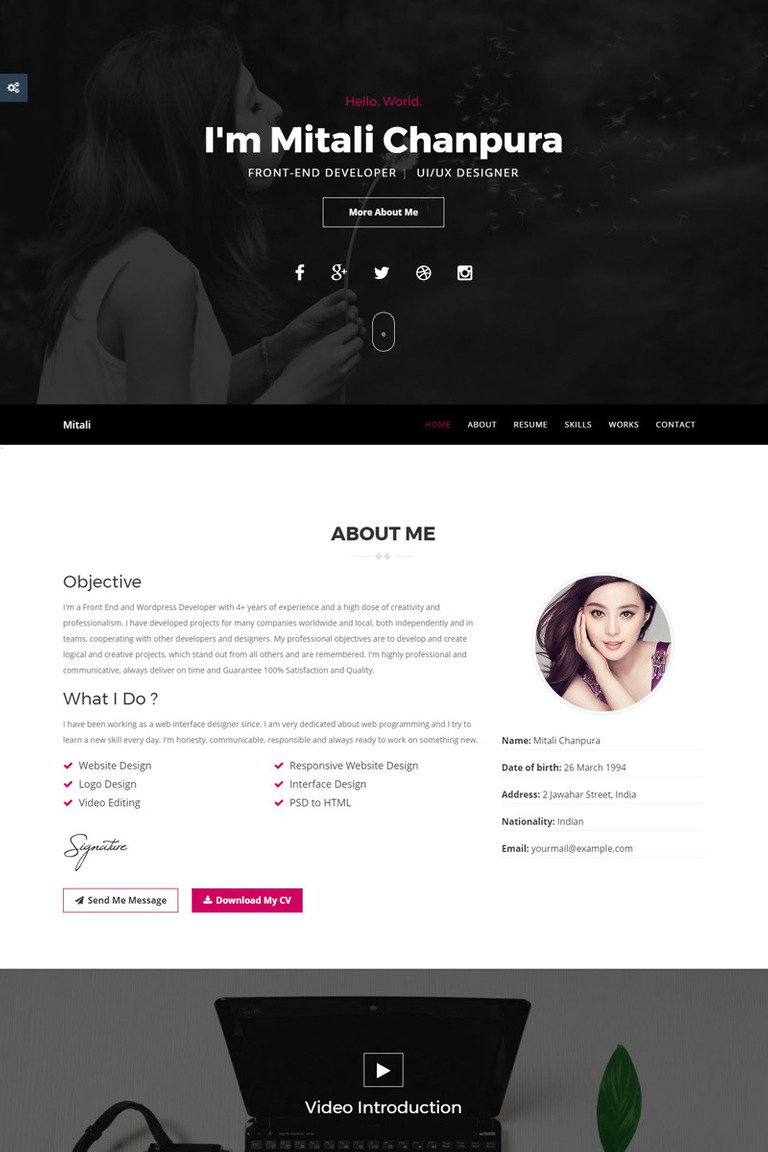 jaguarcv responsive resumecv website template big screenshot - Resume Web Template