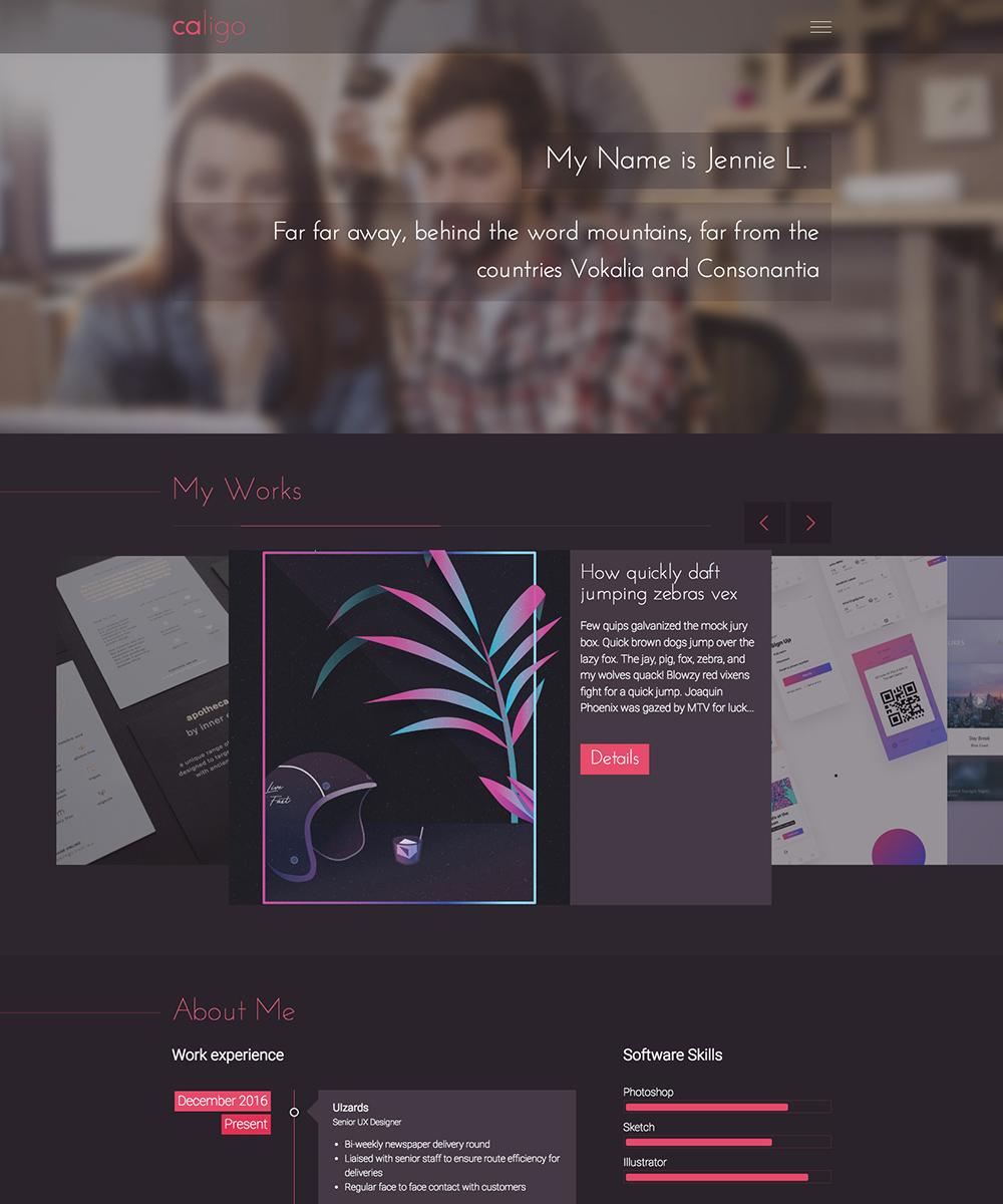 Caligo - Portfolio, Resume, CV Website Template #65417