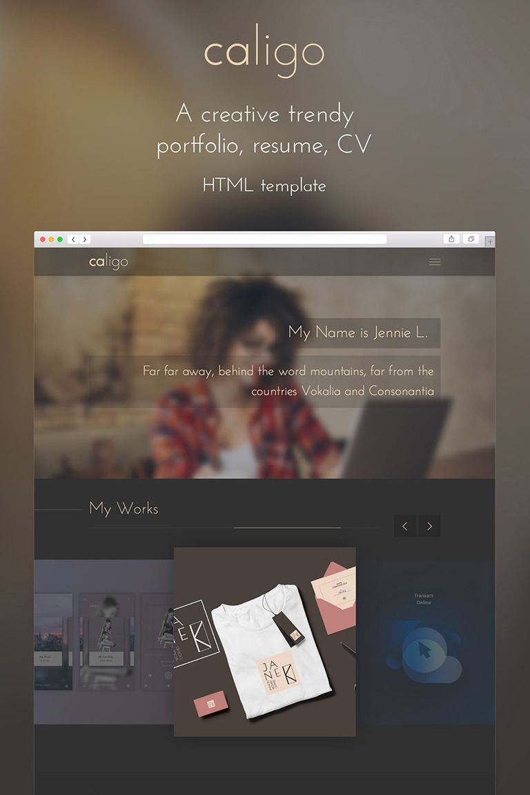 Caligo - Portfolio, Resume, CV Website Template #65417