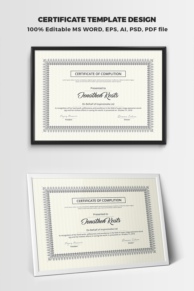 Certificate Print Template Corporate Design 65668
