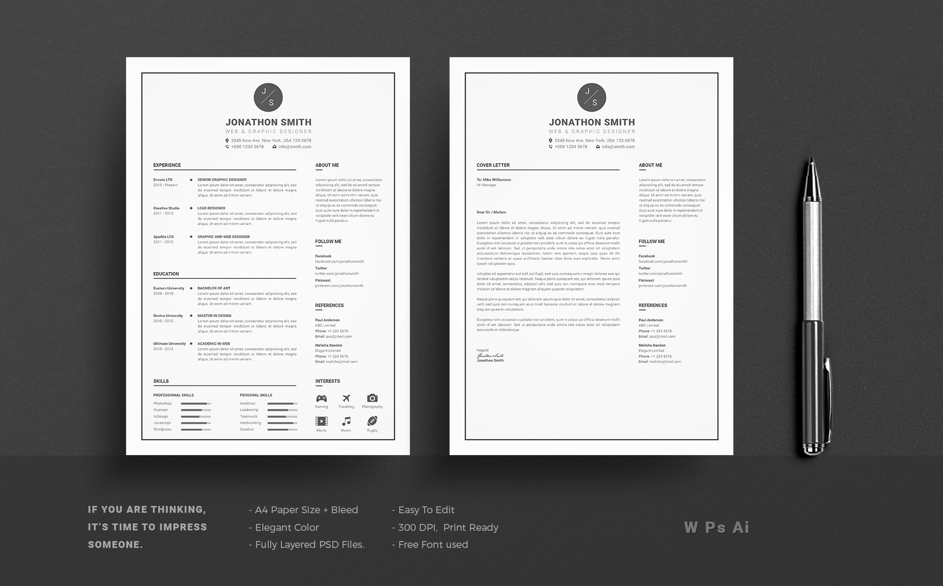 John Smith Resume Template Big Screenshot