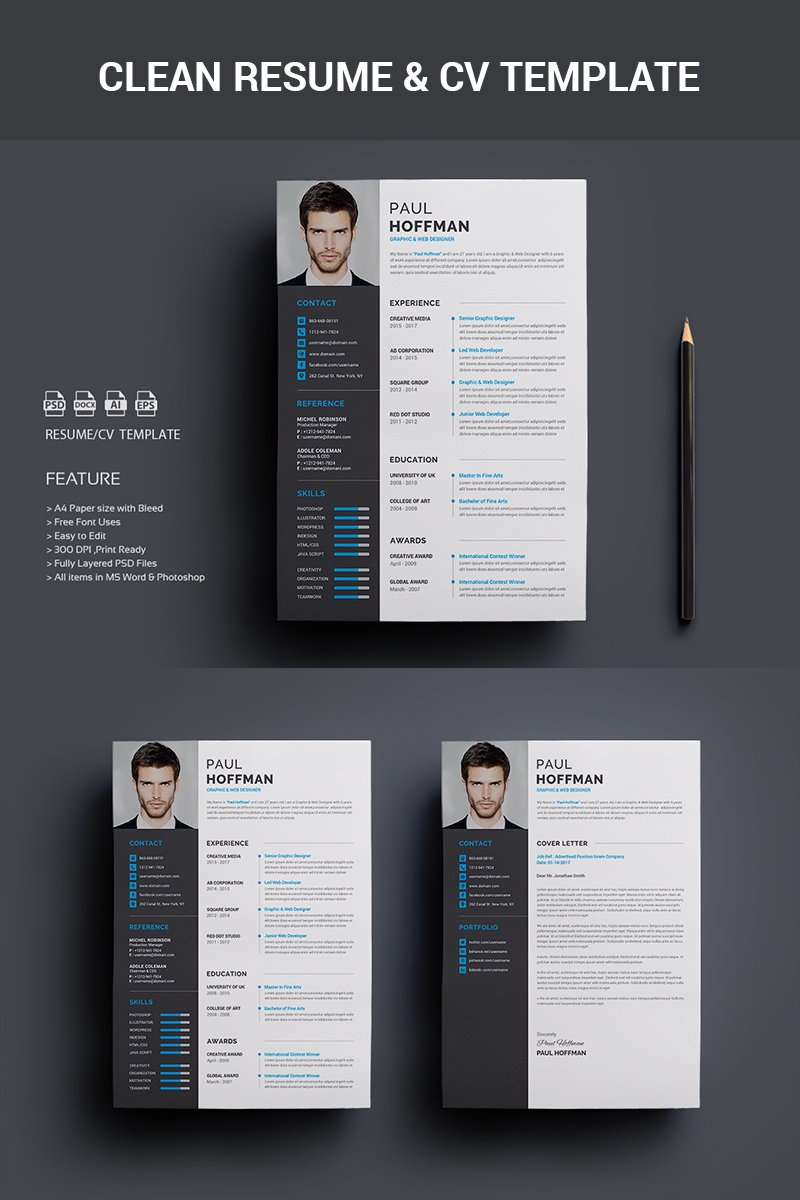 Wonderful Resume   Paul Hoffman Resume Template  Psd Resume Template