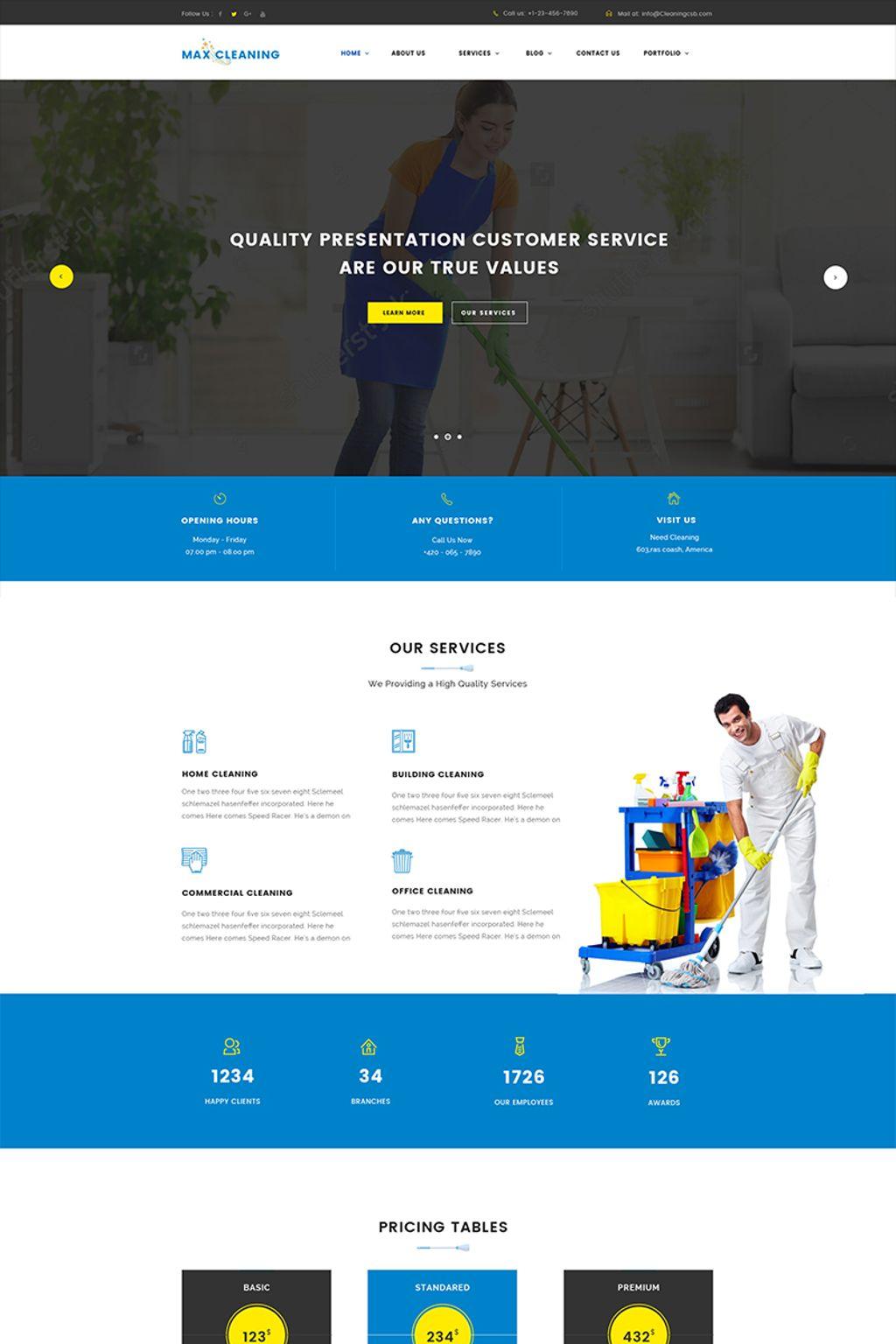 Адаптивный шаблон сайта на тему клининговая компания #65635
