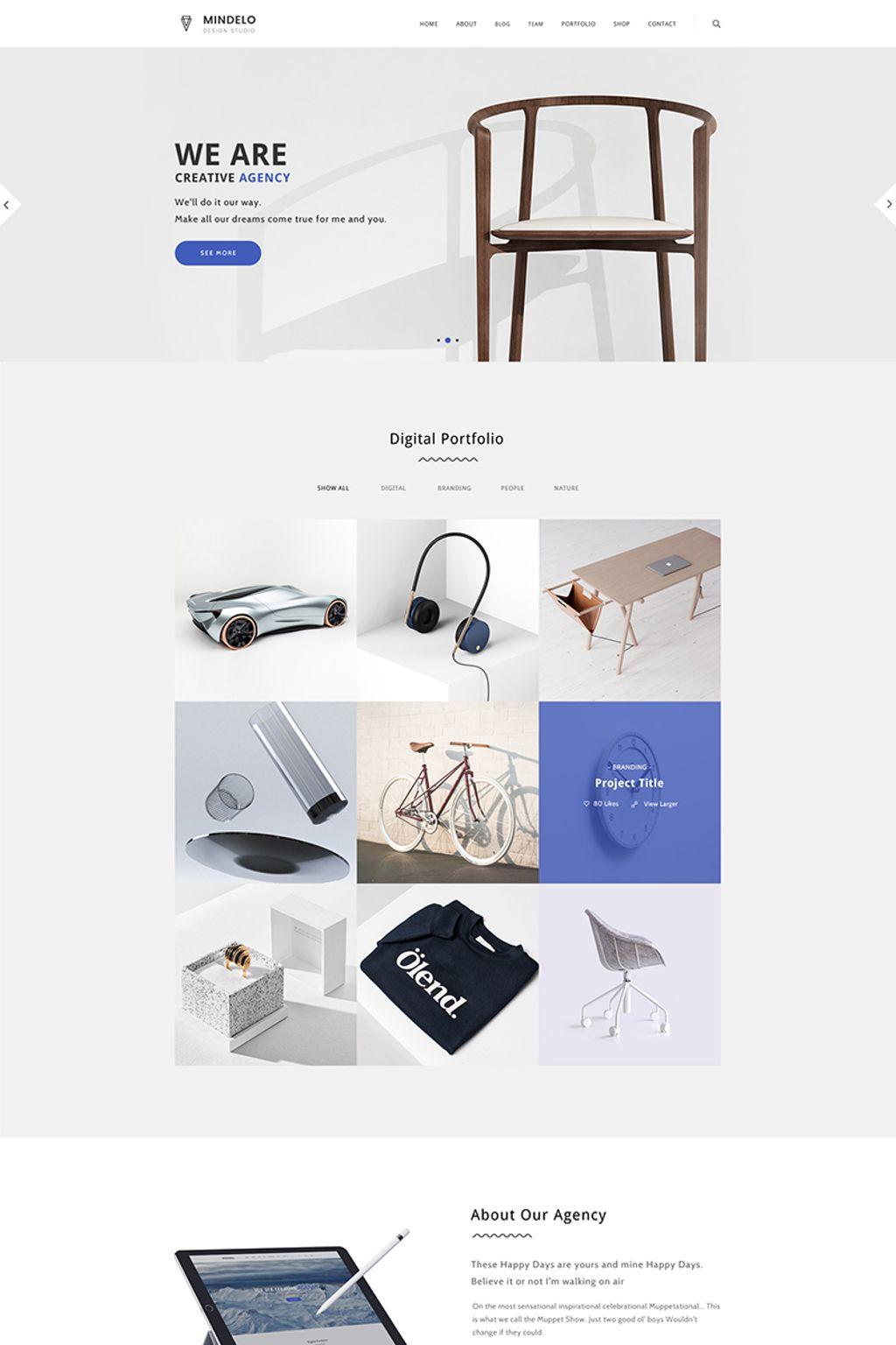 Адаптивный шаблон сайта на тему портфолио дизайнера #65701