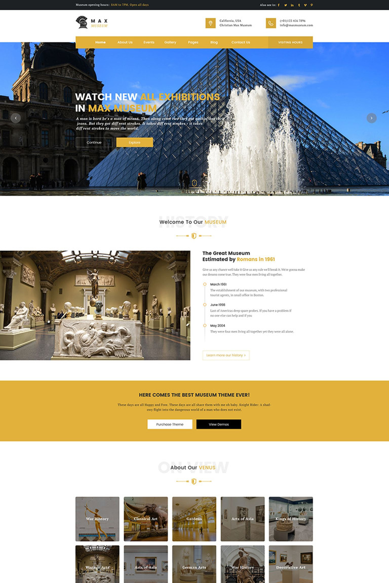Max Museum - WordPress Theme for Museums WordPress Theme Big Screenshot