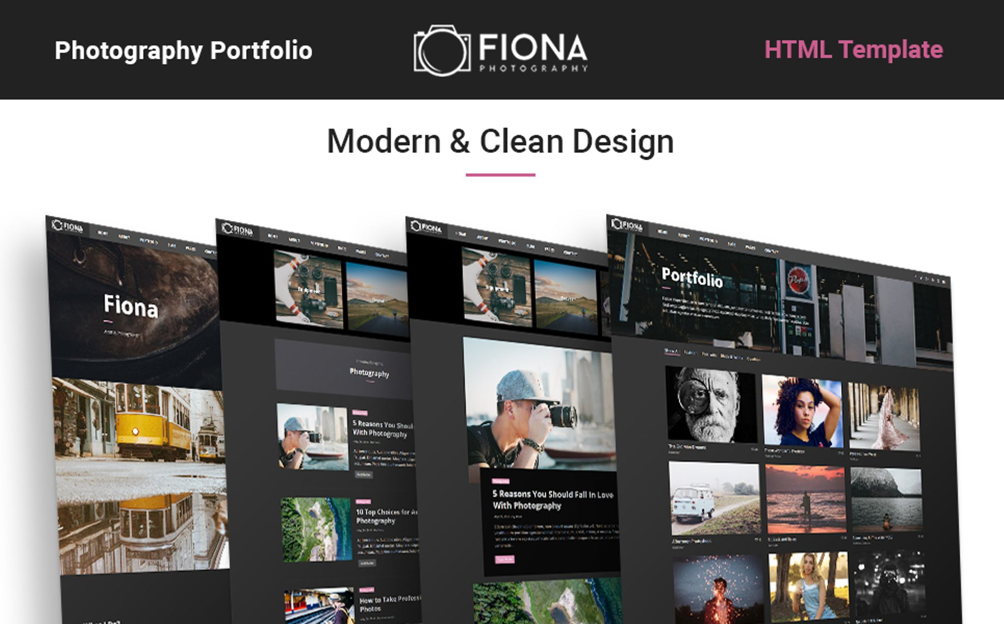 Fiona Photo Gallery Portfolio Website Template 65436