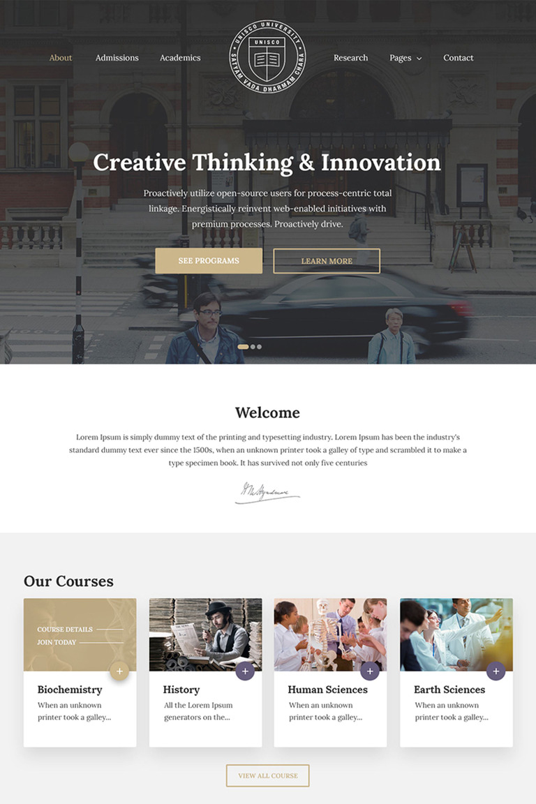 Unisco - Education, School, College & University WordPress Theme #65729