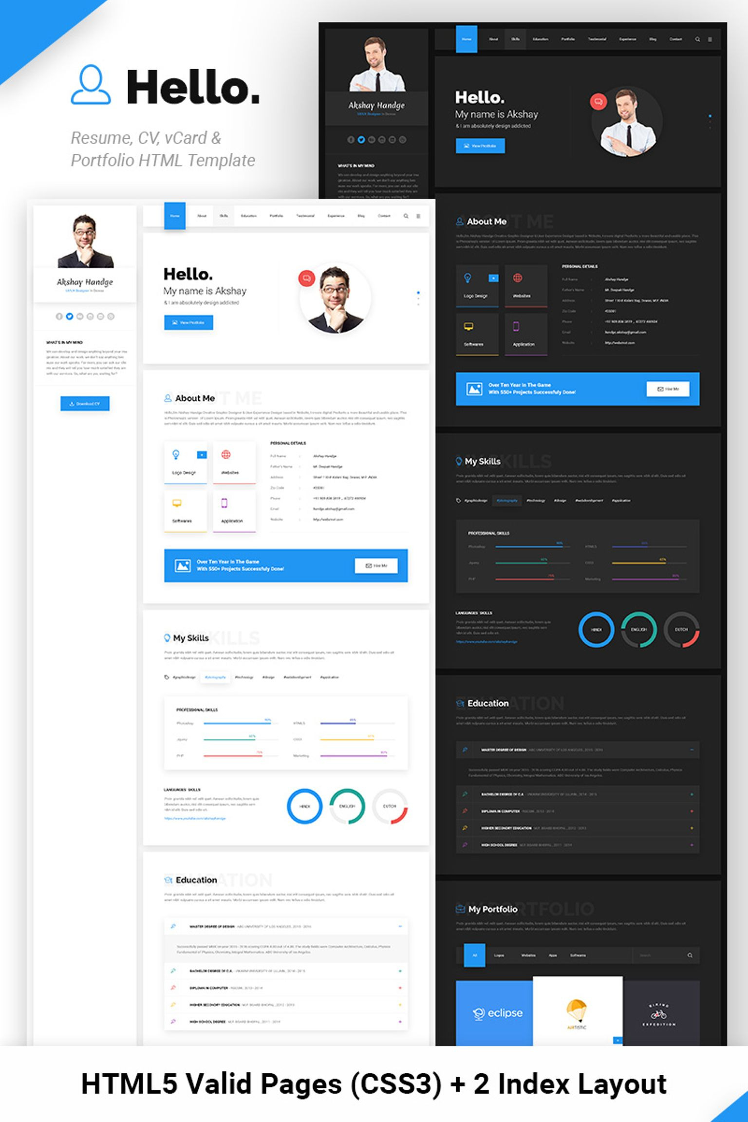 Hello Resume Cv Vcard Portfolio Html Template Website