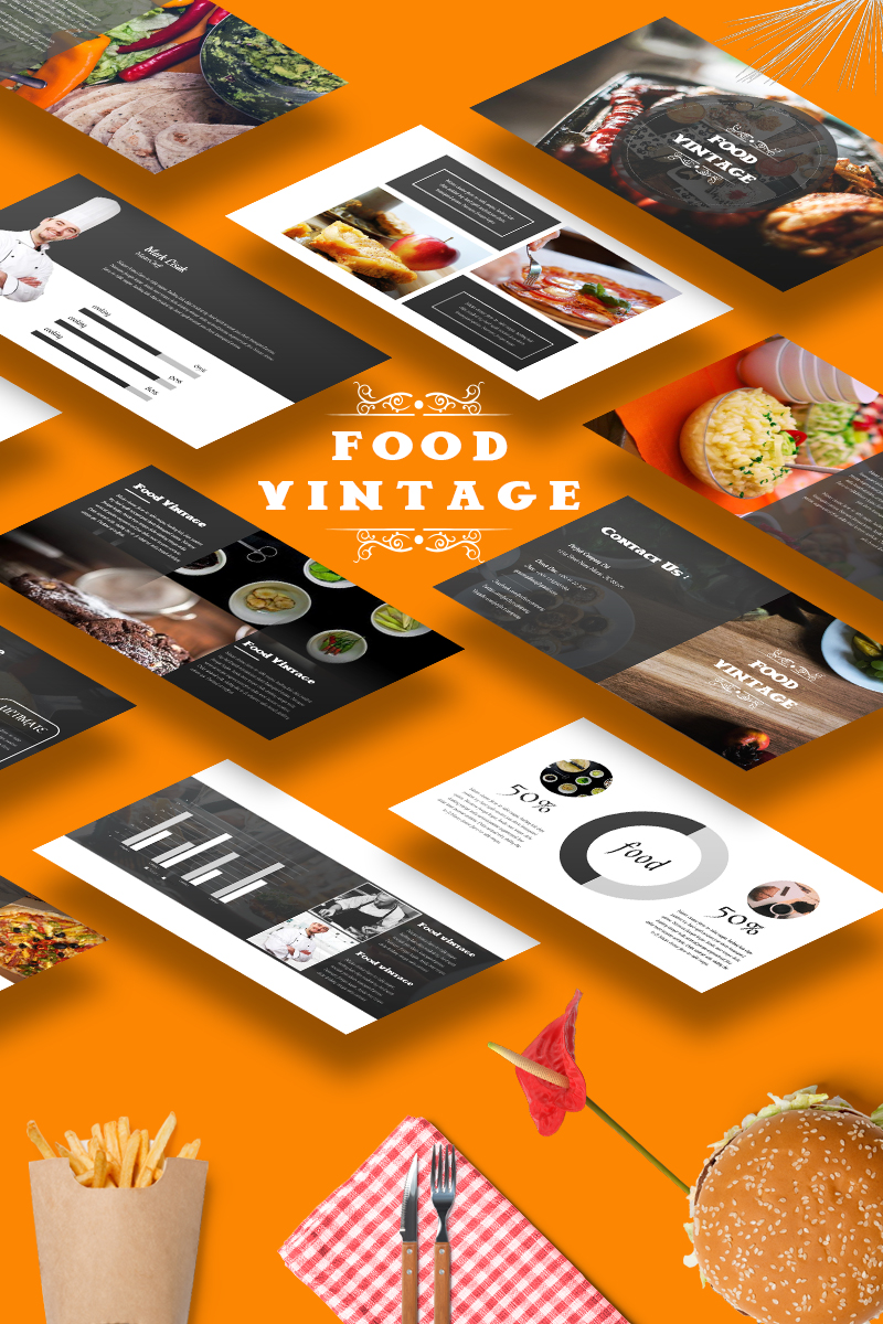 food vintage powerpoint template 65490