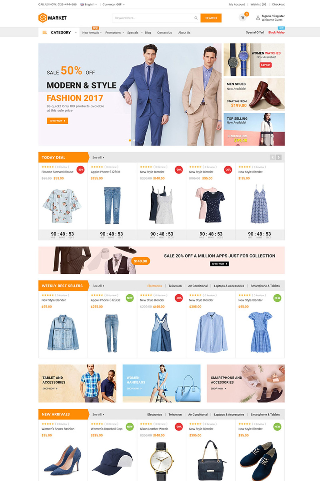 Smarket - Fluid Responsive Magento Theme Big Screenshot